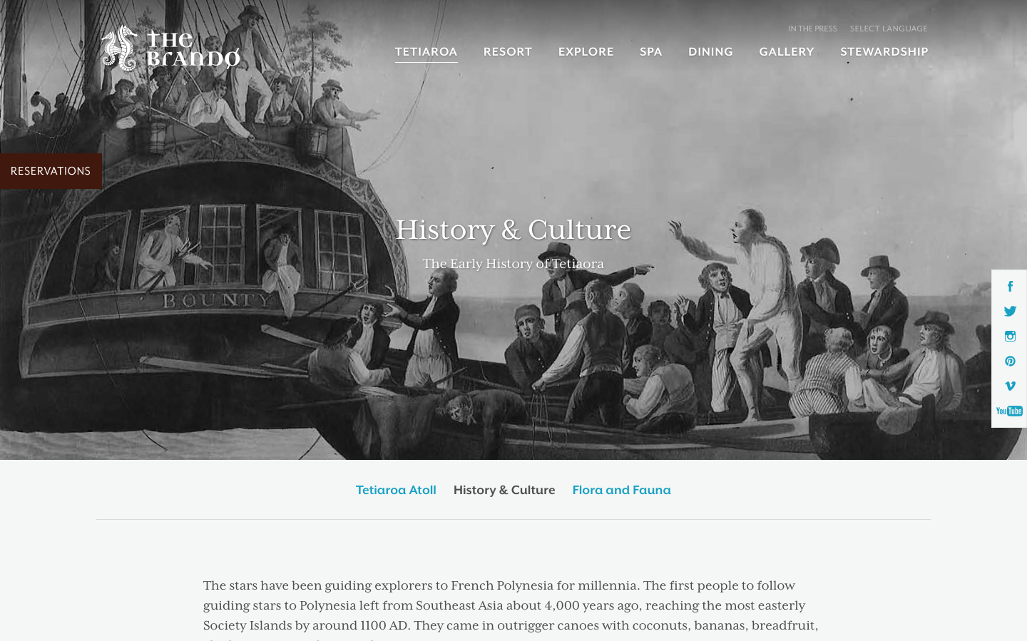 The Brando's website's History & Culture page