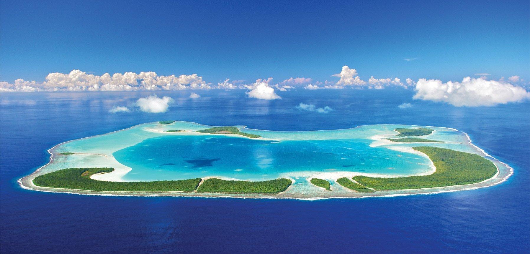 A drone view of The Brando island