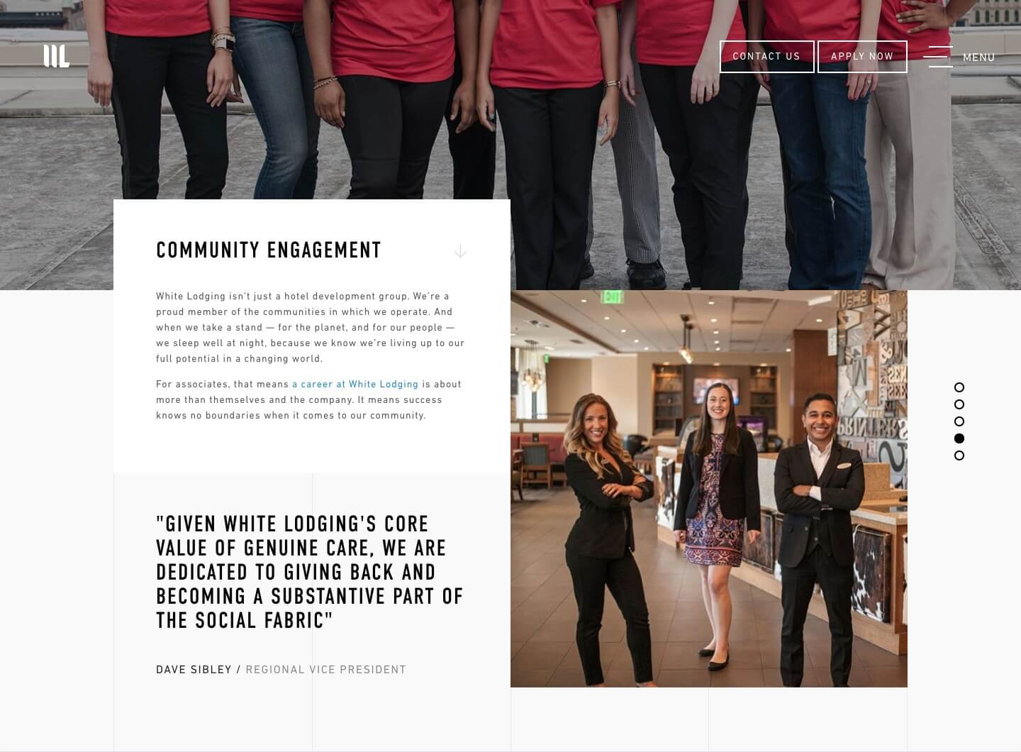 The White Lodging website's Community Engagement page