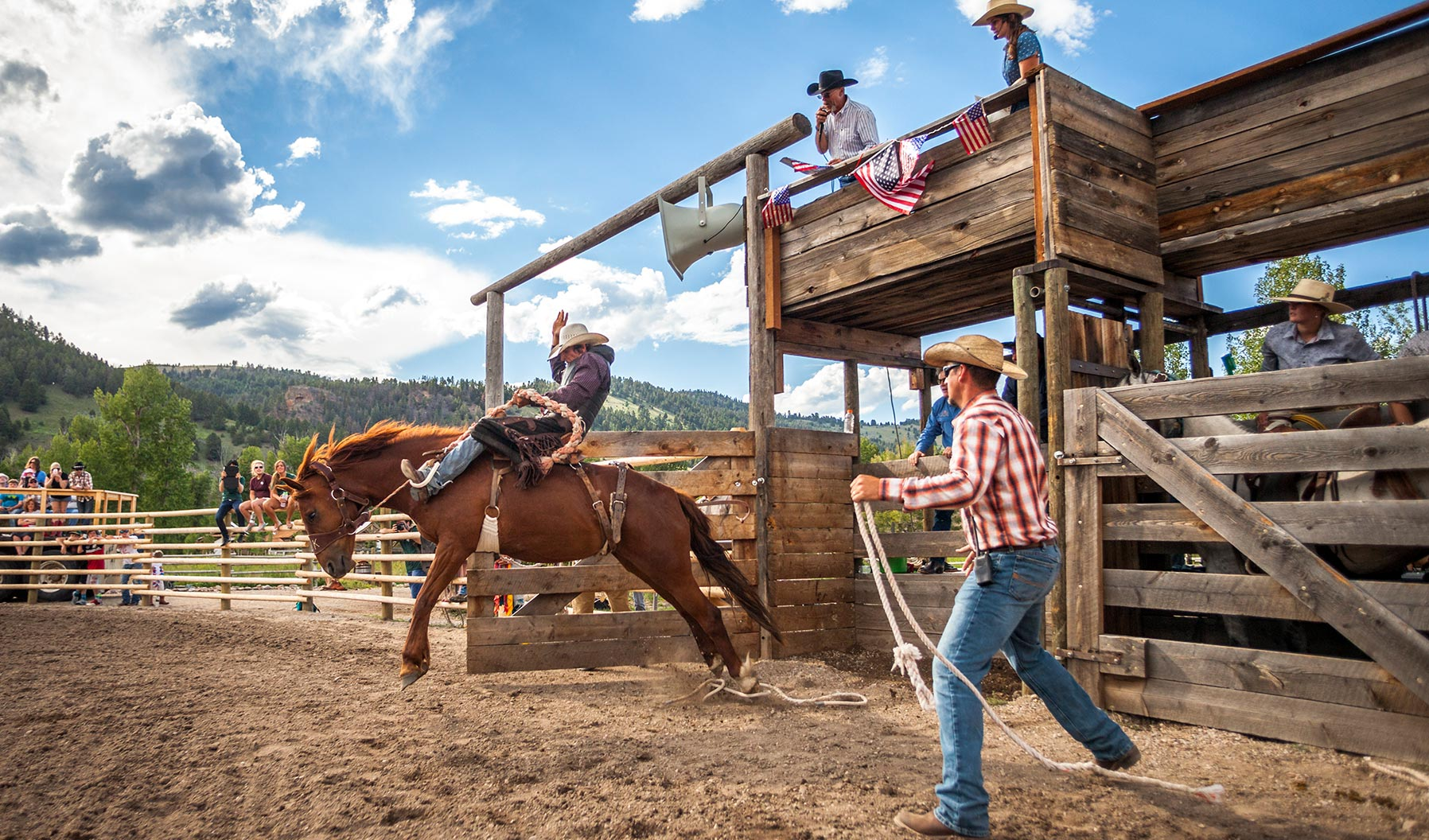 A rodeo and crowds at The Ranch At Rock Creek