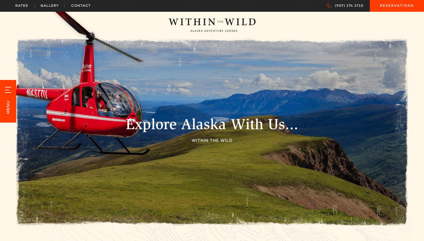 One of the Within The Wild website pages with an image of a helicopter flying through mountains.