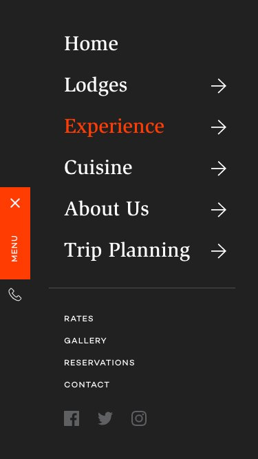 Within The Wild's mobile website navigation menu